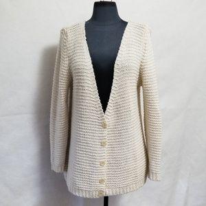 Zara knits Cream Button Front Cardigan Size Large